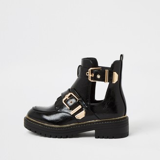 River Island Womens Black wide fit cut out chunky buckle boots