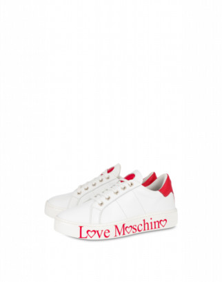 Love Moschino Calfskin Sneakers With Logo Woman White Size 35 It - (5 Us)