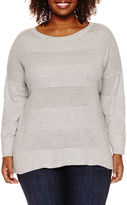 STYLUS Stylus 3/4-Sleeve Striped Layered Sweater - Plus