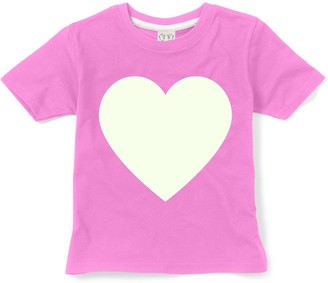 Little Mashers - Glow In The Dark Interactive T-Shirt - Heart Design Pink Adult - Adult Small - White/Pink