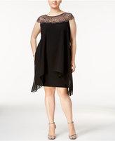 Xscape Evenings Plus Size Beaded Illusion Overlay Sheath Dress