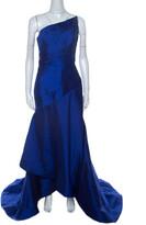 Thumbnail for your product : Monique Lhuillier ML Blue Beaded Detail Faille Trumpet Gown L