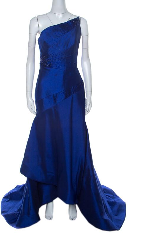 Monique Lhuillier ML Blue Beaded Detail Faille Trumpet Gown L