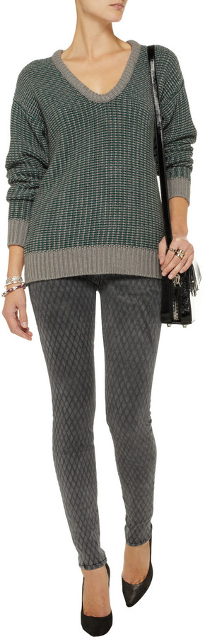 Current/Elliott The Ankle Skinny printed low-rise jeans