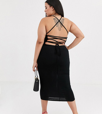 Asos DESIGN Curve going out strappy back midi dress-Black