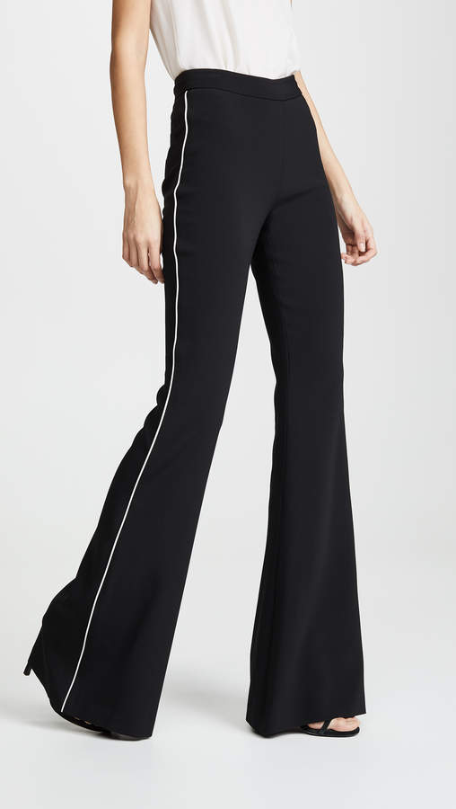 Brandon Maxwell Flare Pants with Tuxedo Stripe