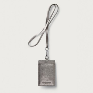 The White Company Leather Neck Card Holder, Bronze, One Size