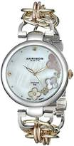 Akribos XXIV Women's Diamond-Accented Watch with Mother of Pearl Dial and Two Tone Alloy Bracelet AK645TRI