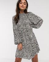 Asos Design DESIGN oversized plisse smock dress in animal print