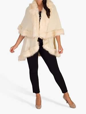 chesca Chesca Luxury Knitted Faux Fur Cape, Cream