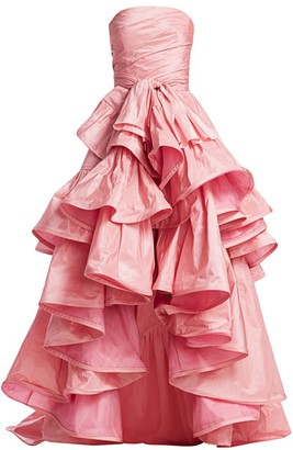 Oscar de la Renta Strapless Tiered Ruffle High-Low Gown