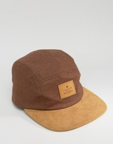 Asos 5 Panel Cap In Brown With Contrast Peak