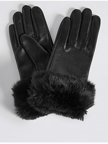 M&S Collection Leather Fur Cuff Gloves