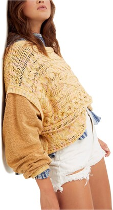 Free People Honey Cable Knit Mixed Media Pullover