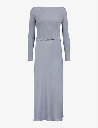 AllSaints Hera jumper-overlay crepe dress