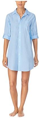 Lauren Ralph Lauren Classic Wovens 3/4 Roll Sleeve His Sleepshirt (Blue Check) Women's Pajama