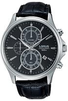 Lorus Rm313dx9 Chronograph Date Leather Strap Watch, Black