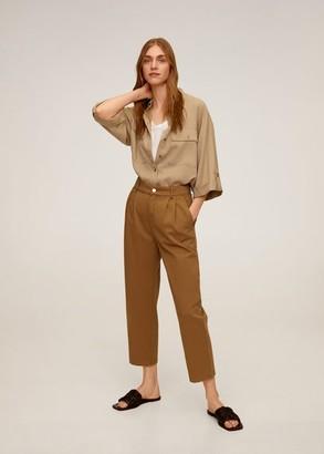 MANGO Relaxed cotton pants medium brown - 1 - Women