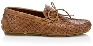 Aquatalia Brian Woven Leather Driver Loafers
