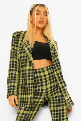 boohoo Checked Double Breasted Blazer