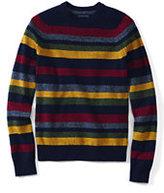 Classic Men's Tall Multi Stripe Crewneck Lambswool Sweater-Desert Brick/Chestnut Brown