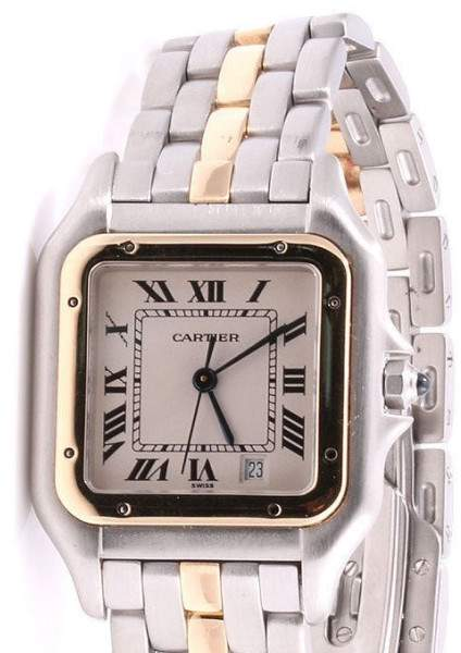 Cartier Panthere Yellow Gold And Stainless Steel Cream Roman Dial 27mm Womens Watch