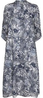 Norr Official - Alice Dress - viscose | light grey | White & Blue | 36 - Light grey
