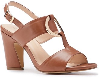 Paradox London Harding Tan High Block Heel Sandals