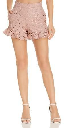 Karina Grimaldi Jonas Ruffled Eyelet-Pattern Shorts