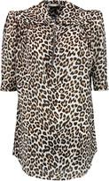 Carven Leopard-print crinkled-voile top