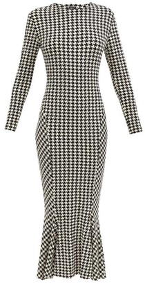 Norma Kamali Houndstooth Mermaid-hem Jersey Dress - Black/white