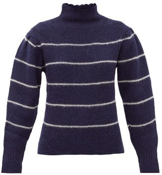 Etoile Isabel Marant Georgia Roll-neck Striped Alpaca-blend Sweater - Navy