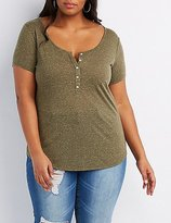 Charlotte Russe Plus Size Marled Henley Tee