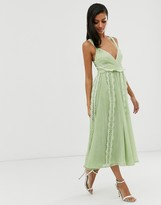 Asos Design DESIGN soft midi dress with lace insert in washed chiffon