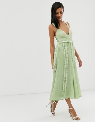 Asos Design DESIGN soft midi dress with lace insert in washed chiffon-Green