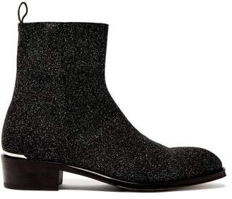 Alexander McQueen Glitter Leather Ankle Boots - Mens - Black Multi
