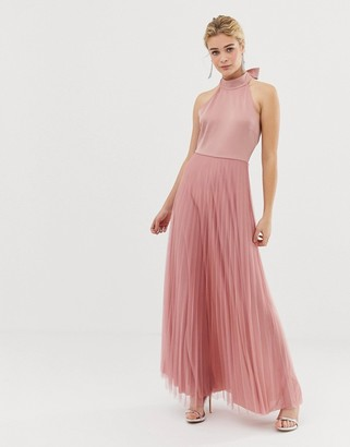 Asos Design DESIGN Scuba Top Pleated Tulle Maxi Dress-Pink