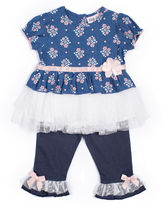 Little Lass 2-pc. Chambray Top and Pants Set