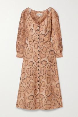 Mara Hoffman Net Sustain Silvana Snake-print Tencel And Linen-blend Midi Dress - Snake print