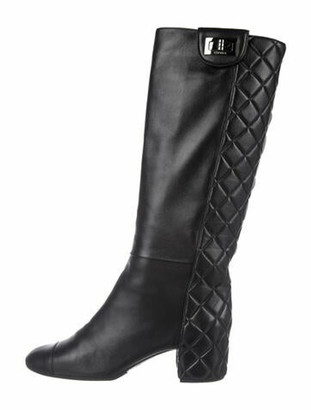 Chanel Quilted Mademoiselle Knee-High Boots Quilted Pattern Riding Boots Black