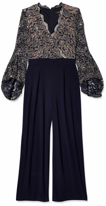 R & M Richards R&M Richards Women's 1 Piece wrap Two Tone lace with Bell Sleeve Jumpsuit