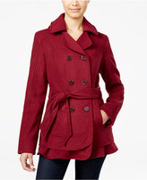 Celebrity Pink Hooded Belted Peacoat