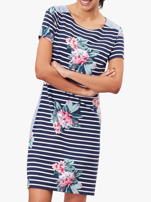 Joules Imelda Stripe Floral Shift Dress, Floral Navy Stripe