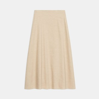 Theory Midi Skirt in Textured Good Linen