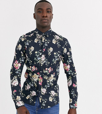 ASOS DESIGN Tall skinny stretch sateen floral shirt in black