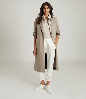 Reiss Elyse - Wool Blend Reversible Longline Overcoat in Mink