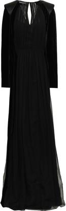 Alberta Ferretti Satin-trimmed Velvet And Silk-georgette Gown