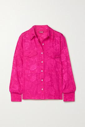 STAUD Alyssa Floral-jacquard Shirt - Fuchsia