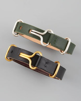 Philip Crangi Giles & Brother by Leather Visor Bracelet, Green