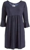 Glam Black & White Polka Dot Empire-Waist Dress - Plus